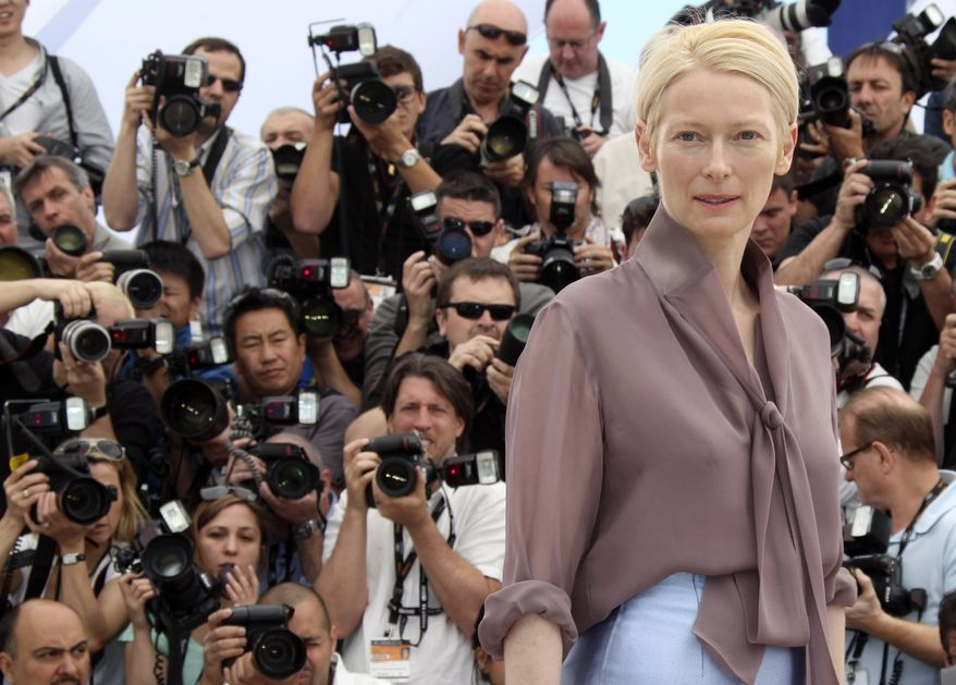 "Scottish actress Tilda Swinton poses during a photo call for ""Moonrise Kingdom"" at the Cannes Film Festival in southern France in 2012. (AP Photo/Joel Ryan)"