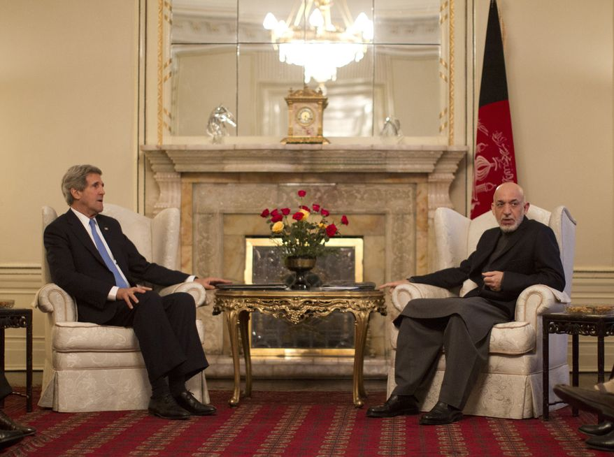 Secretary of State John Kerry meets with Afghan President Hamid Karzai at the Presidential Palace in Kabul on March 25, 2013. Kerry embarked on talks Monday with Karzai amid concerns Karzai may be jeopardizing progress in the war against extremism with his anti-American rhetoric. The session came shortly after the U.S. military ceded control of its last detention facility in Afghanistan, ending a longstanding irritant in relations. (Associated Press)