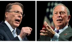 In this photo combo, Wayne LaPierre, left, CEO of the National Rifle Association, makes remarks at CPAC 2013, at the Gaylord National Resort & Convention Center in National Harbor, Md., Friday, March 15, 2013; and at right, New York City Mayor Michael Bloomberg speaks to the Economic Club of Washington, Wednesday, Sept. 12, 2012, in Washington. LaPierre and Bloomberg claim their views on guns have the support of the overwhelming number of Americans. (AP Photo, Ron Sachs, Manuel Balce Ceneta)