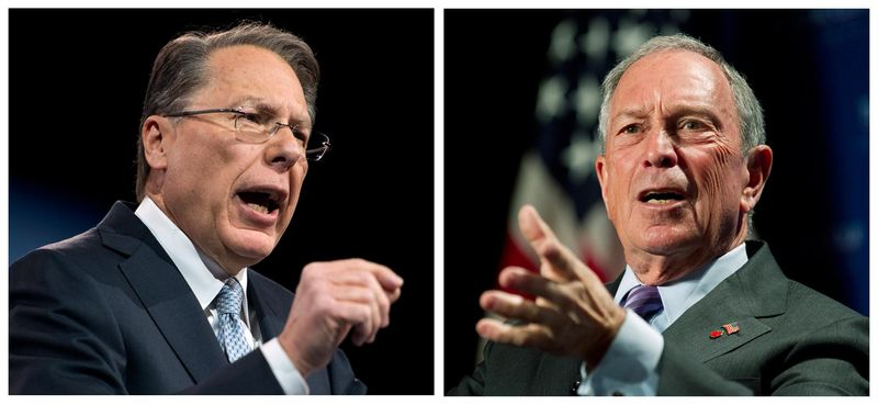 In this photo combo, Wayne LaPierre, left, CEO of the National Rifle Association, makes remarks at CPAC 2013, at the Gaylord National Resort & Convention Center in National Harbor, Md., Friday, March 15, 2013; and at right, New York City Mayor Michael Bloomberg speaks to the Economic Club of Washington, Wednesday, Sept. 12, 2012, in Washin