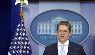 White House spokesman Jay Carney speaks during the daily briefing at the White House on March 26, 2013. (Associated Press)