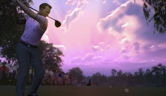 Arnold Palmer enjoys an evening round of golf in the video game Tiger Woods PGA Tour 14.