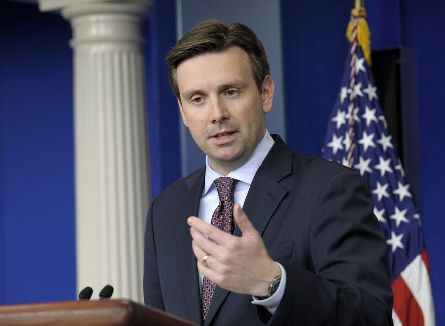 White House principal deputy press secretary Josh Earnest gives the daily briefing at the White House in Washington on Wednesday, March 27, 2013. (AP Photo/Susan Walsh)