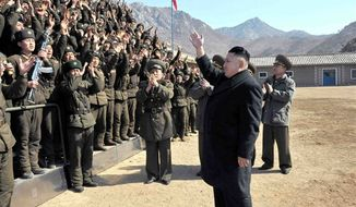 ** FILE ** In this March 11, 2013, photo released by the Korean Central News Agency (KCNA) and distributed March 12, 2013, by the Korea News Service, North Korean leader Kim Jong-un greets military personnel at a long-range artillery sub-unit of KPA Unit 641 during his visit to front-line military units near the western sea boarder in North Korea near the South's western border island of Baengnyeong. (AP Photo/KCNA via KNS)