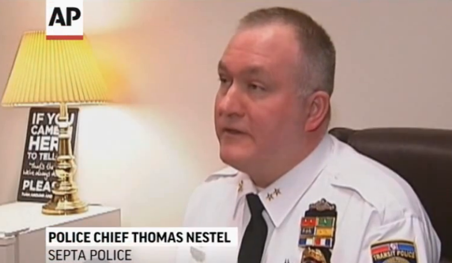 Southeastern Pennsylvania Transportation Authority Police Chief Thomas Nestel III. (Screen shot from AP video)