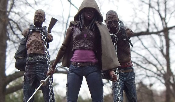 Michonne and her pals from McFarlane Toys' The Walking Dead: TV Series 3 collection.