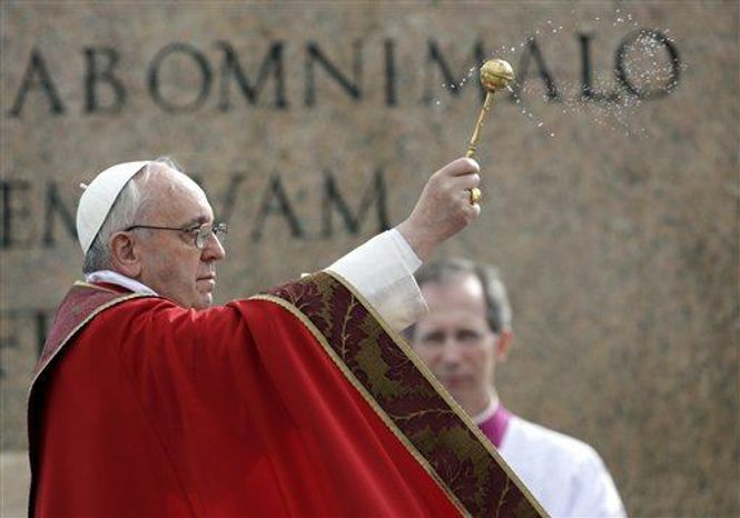 Pope Francis celebrates Palm Sunday Mass, in St. Peter's Square at the Vatican, Sunday, March 24, 2013. (Associated Press)