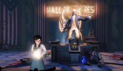 Elizabeth helps search the Hall of Heroes in the first person shooter Bioshock Infinite.