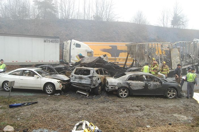 This photo provided by the Virginia State Police shows the scene following a multi-vehicle pileup on Interstate 77 near the Virginia-North Carolina border in Galax, Va., on Sunday, March 31, 2013. Three were killed in 17 separate wrecks involving 95 cars along Interstate 77, a highway that runs through the mountainous region of Virginia near the North Carolina border. (AP Photo/Virginia State Police, Sgt. Mike Conroy)