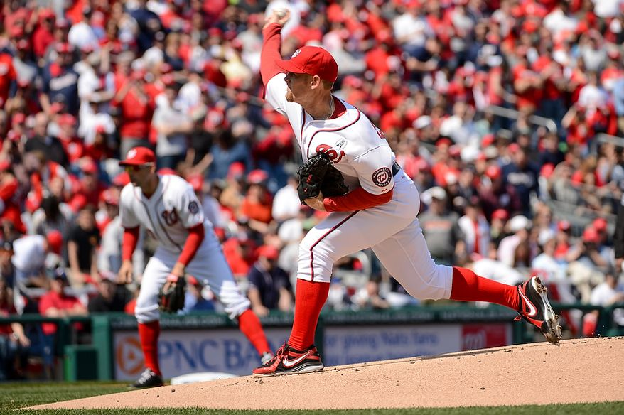 Washington Nationals starting pitcher Stephen Strasburg (37) throws out the first pitch as the Washington Nationals play the Miami Marlins on opening day at Nationals Park, Washington, D.C., Monday, April 1, 2013. (Andrew Harnik/The Washington Times)