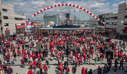 Fans flood the gates at Nationals Park as they make their way to their seats to watch the Washington Nationals play the the Miami Marlins on opening day, in Washington, DC., Monday, April 1, 2013. (Andrew S Geraci/The Washington Times)