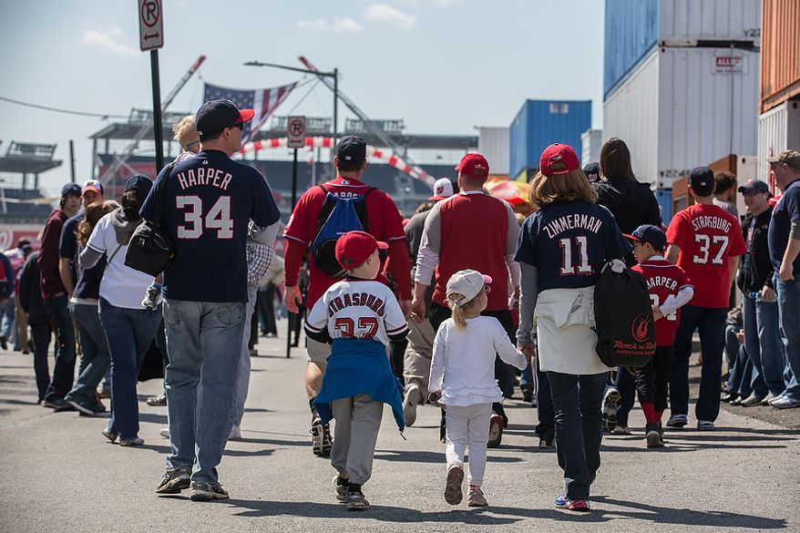 Families take the day off to watch the Washington Nationals play the the Miami Marlins on opening day, at Nationals Park, in Washington, DC., Monday, April 1, 2013. (Andrew S Geraci/The Washington Times)