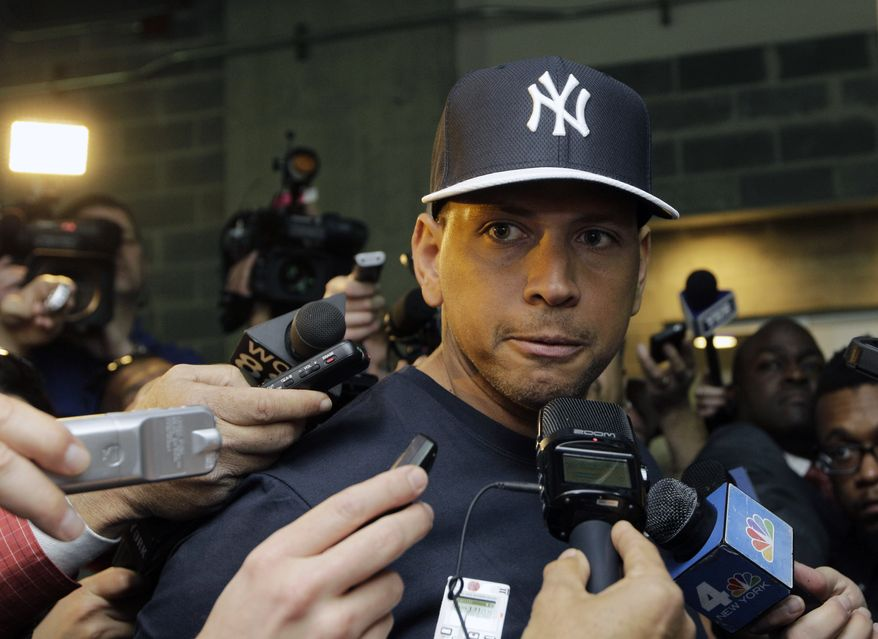 New York Yankees' Alex Rodriguez, who is on the disabled list after hip surgery, talks to media outside the Yankees clubhouse before the Yankees Opening Day baseball game against the Boston Red Sox at Yankee Stadium in New York, Monday, April 1, 2013. (AP Photo/Kathy Willens)