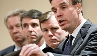 Sen. Mark R. Warner (right) holds a large lead in a hypothetical Senate race with Virginia Gov. Bob McDonnell. Mr. Warner is running for re-election in 2014. Virginia governors are limited to a single term. (Associated Press)
