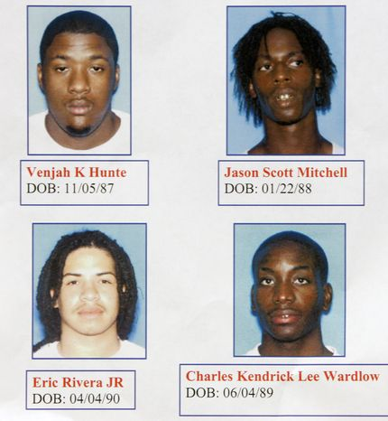 **FILE** Undated photos provided by the Miami-Dade Police Department shows the four suspects, Venjah K. Hunte, 20, Jason Scott Mitchell, 17, Eric Rivera, Jr., 17, and Charles Kendrick Lee Wardlow, 18, arrested Friday, Nov. 30, 2007, in connection with the shooting death of Washington Redskins football player Sean Taylor. (AP Photo/Miami-Dade Police Dept., HO)