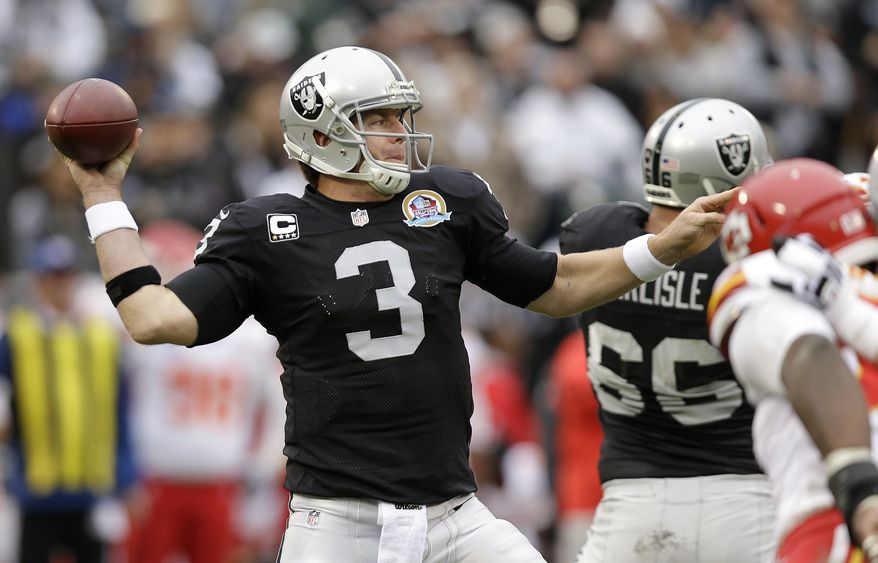 Oakland Raiders quarterback Carson Palmer (3) passes during the second quarter of an NFL football game against the Kansas City Chiefs in Oakland, Calif., Sunday, Dec. 16, 2012. (AP Photo/Marcio Jose Sanchez)