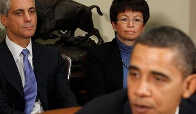 President Obama speaks during his meeting with the President's Economic Recovery Advisory Board at the White House with Chief of Staff Rahm Emanuel and senior adviser Valerie Jarrett seated behind him. The corruption trial of ousted Illinois Gov. Rod R. Blagojevich - for purportedly trying to sell Mr. Obama's Senate seat - is a distant but unwelcome headache for the White House.