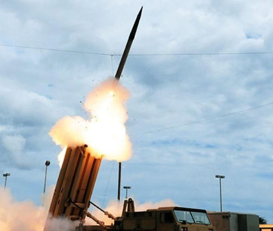 Terminal High Altitude Area Defense (THAAD) missile, used to intercept an incoming ballistic missile, during a test at the Pacific Missile Range Facility off the island of Kauai in Hawaii. (U.S. Missile Defense Agency)