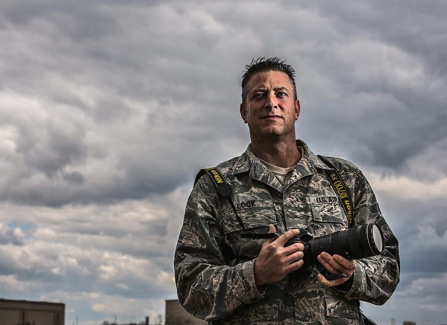 Master Sgt. Jeremy Lock, 42, stationed at the Defense Media Activity, in Ft. Meade, Md., poses for a photo after being named Military Photographer of the Year for  the seventh time,Tuesday, March 26, 2013. (Andrew S Geraci/The Washington Times)