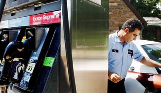 Roy Bouharb fills up a customer's tank at the Watergate Exxon on Virginia Avenue NW in Washington, DC May 26, 2004. This station's cheapest gas is 6 cents costlier than its competitor across the street; customers cite service and convenience as their reason for spending more.  ( Maya Alleruzzo / The Washington Times )