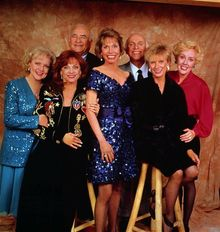 """This undated publicity photo shows, from left, Betty White, Valerie Harper, Ed Asner, Mary Tyler Moore, Gavin MacLeod, Cloris Leachman and Georgia Engel, the original cast of the """"Mary Tyler Moore Show."""" (AP Photo, File)"""