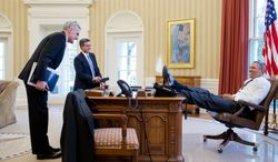 President Barack Obama talks with Chief of Staff Denis McDonough and Miguel Rodriguez, Director of Legislative Affairs, in the Oval Office, Feb. 25, 2013. (Official White House Photo by Pete Souza)