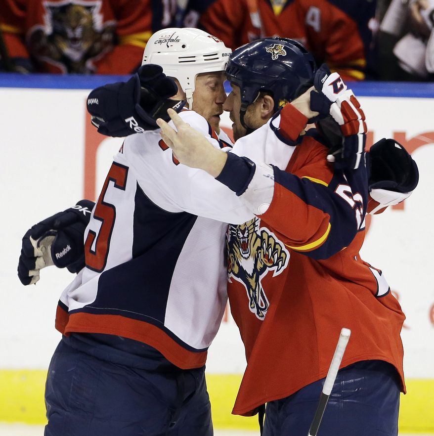 Washington Capitals' Jason Chimera, left, and Florida Panthers' Tyson Strachan, right, get nose-to-nose before a fight during the first period of an NHL hockey game in Sunrise, Fla., Saturday, April 6, 2013. (AP Photo/J Pat Carter)