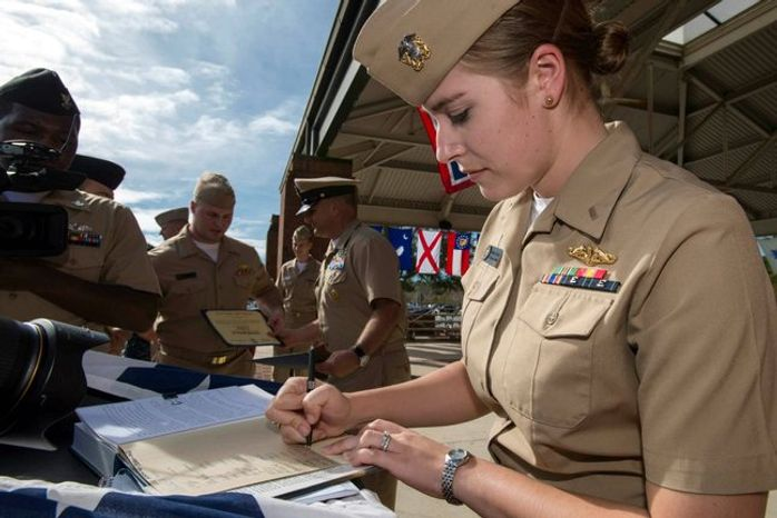 "Navy Lt. j.g. Marquette Leveque, 25, found a ""professional working environment"" as one of the first female officers to train on guided- and ballistic-missile subs. (U.S. Navy photograph)"