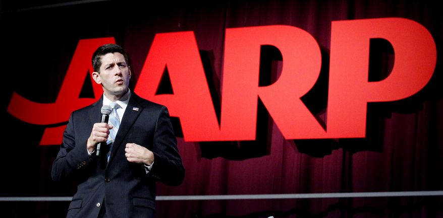 **FILE** Rep. Paul Ryan, Wisconsin Republican and GOP vice presidential candidate, speaks Sept. 21, 2012, at the AARP convention in New Orleans. (Associated Press)