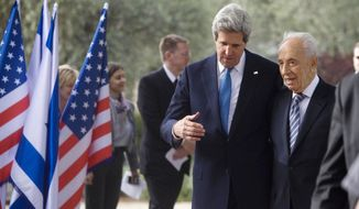 Israel's President Shimon Peres, right, meets with U.S. Secretary of State John Kerry in the president'sresidence in Jerusalem, Monday, April, 8, 2013. (AP Photo/Dan Balilty, Pool)