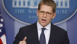 White House spokesman Jay Carney briefs reporters at the White House in Washington on April 8, 2013. (Associated Press)