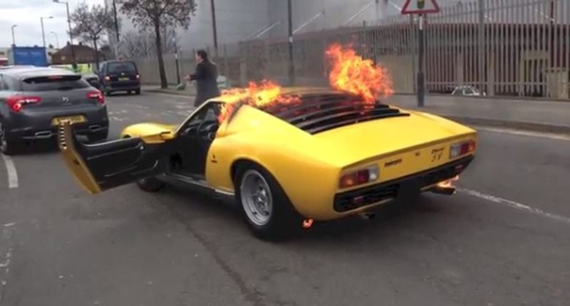 A Lamborghini Miura SV, one of only 764 models in the world, burns in London on April 09, 2013. (YouTube)
