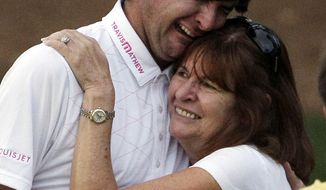 **FILE** In this April 8, 2012, file photo, Bubba Watson hugs his mother Molly after winning the Masters golf tournament following a sudden death playoff on the 10th hole in Augusta, Ga.  (AP Photo/Matt Slocum, File)