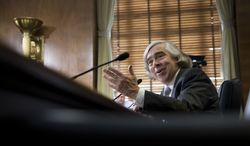 Ernest Moniz, President Obama's nominee to be secretary of energy, testifies on Capitol Hill in Washington on Tuesday, April 9, 2013, at a Senate Energy and Natural Resources Committee hearing on his nomination. (AP Photo/Manuel Balce Ceneta)