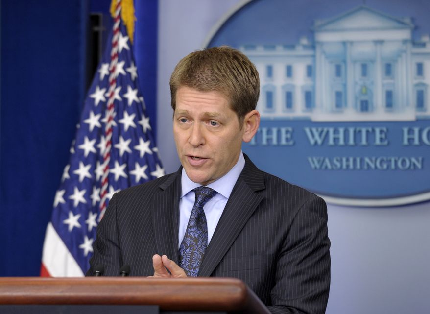 White House press secretary Jay Carney gives his daily briefing at the White House in Washington on Tuesday, April 9, 2013. (AP Photo/Susan Walsh)