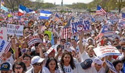 ** FILE ** In this April 10, 2013, file photo, thousands of people from across the country turned out for the National Rally for Citizenship as a bipartisan group of lawmakers worked to finalize legislation that would reform the nation's immigration policy. (Andrew Harnik/The Washington Times)