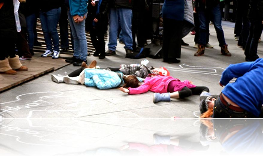 A Broadway choreographers brings an anti-gun flashmob to the Lincoln Memorial on Sunday  to chalk up a faux crime scene. (image from Artists Against Gun Violence)