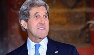 U.S. Secretary of State John F. Kerry is pictured before a meeting at the Foreign and Commonwealth Office in central London on Wednesday, April 10, 2013. (AP Photo/Ben Stansall, Pool)
