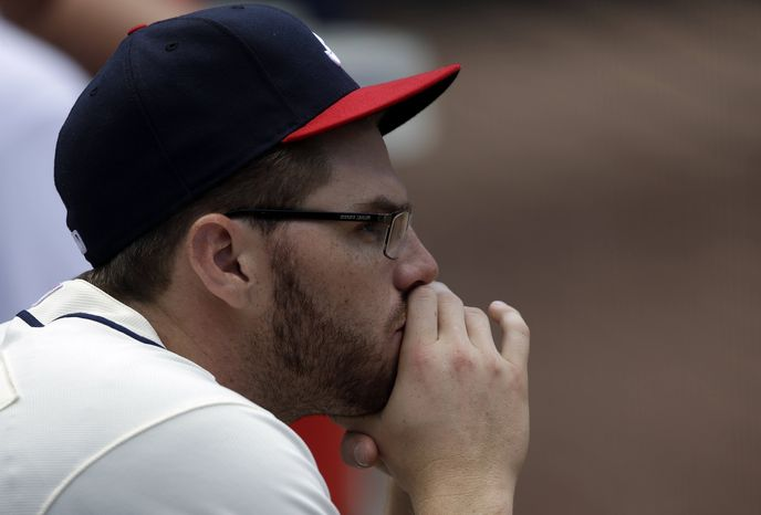 Atlanta Braves first baseman Freddie Freeman is shown during a baseball game against the Chicago Cubs in Atlanta. Sunday, April 7, 2013, in Atlanta. (AP Photo/John B
