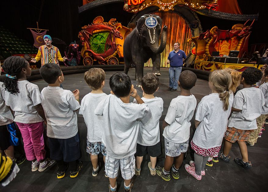 Kelly Anne, a 17 year old Asian elephant, with the Ringling Brothers, waves her trunk to children who are in the Young Rembrandts, a school art program, at the George Mason University Patriot Center, in Fairfax, VA., Thursday, April 11, 2013. (Andrew S Geraci/The Washington Times)