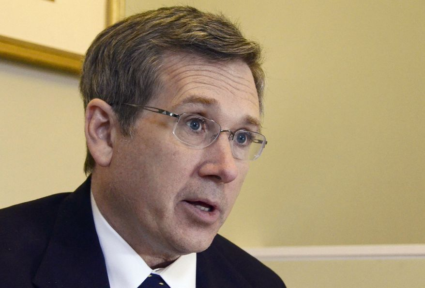 ** FILE ** In this Dec. 18, 2012, file photo, Republican U.S. Sen. Mark Kirk of Illinois speaks about his recovery from a major stroke a year ago at his home in Highland Park, Ill., In a post on his blog Tuesday, April 2, 2013,  (AP Photo/Daily Herald, Bill Zars, File)