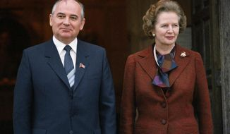 "** FILE ** In this Dec. 15, 1984, file photo, Mikhail S. Gorbachev poses with Britain's Prime Minister Margaret Thatcher in London. Ex-spokesman Tim Bell says that Thatcher has died. She was 87. Bell said the woman known to friends and foes as ""the Iron Lady"" passed away Monday morning, April 8, 2013. (AP Photo/File)"