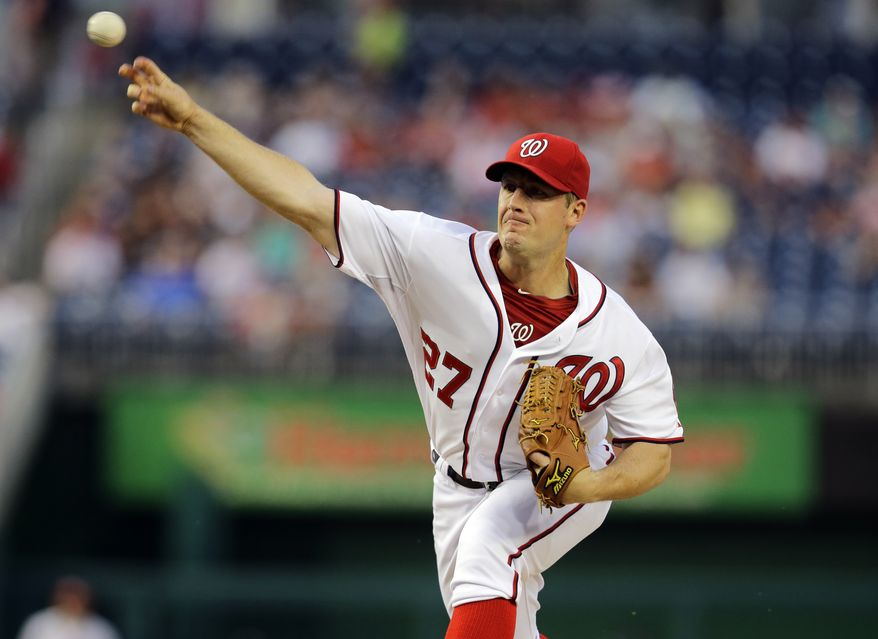 Jordan Zimmermann delivers a pitch against the Chicago White Sox on Wednesday night. The Washington Nationals won the game 5-2. (Associated Press photo)