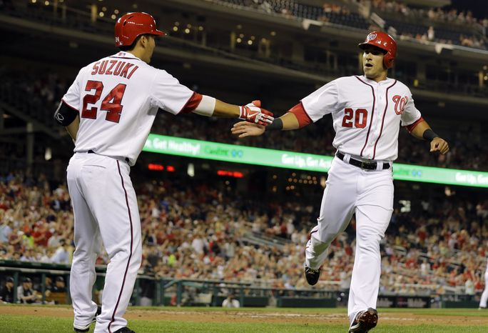 Ian Desmond is congratulated by Kurt Suzuki in the Washington Nationals win over the C