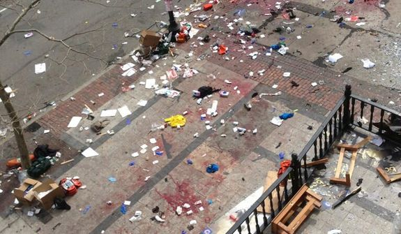 Aerial view of the aftermath of the explosions near the finish line of the Boston Marathon. (Twitter phot: Bruce Mendelsohn)