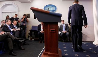 President Obama leaves the podium after speaking in the James Brady Press Briefing Room at the White House in Washington on April 15, 2013, following the explosions at the Boston Marathon. (Associated Press)
