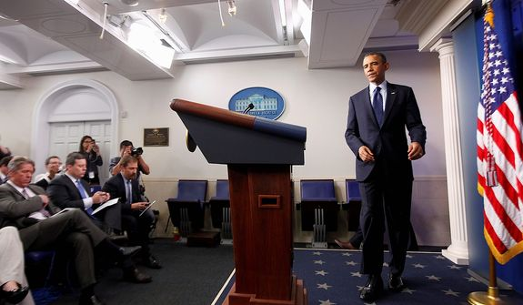 President Barack Obama arrives to speak in the James Brady Press Briefing Room at the White House in Washington, Monday, April 15, 2013, following the explosions at the Boston Marathon. (AP Photo/Charles Dharapak)