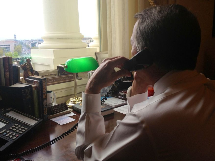 Speaker John A. Boehner speaks to President Obama around 5:30 p.m. Monday about the tragedy in Boston. (Courtesy of the House of Representatives)