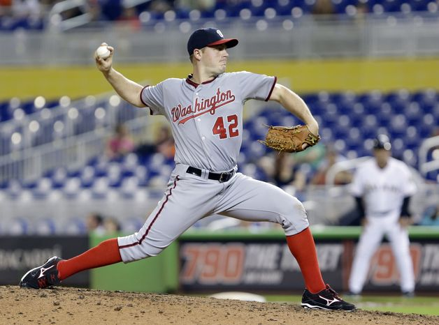 Jordan Zimmermann threw the first nine-inning complete game of his career Monday night, as the Washington Nationals beat the Miami Marlins 10-3. (Associated Press photo)