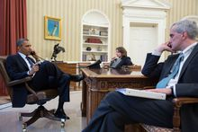 President Obama talks on the phone with FBI Director Robert Mueller following explosions at the Boston Marathon. (Pete Souza/White House photo)